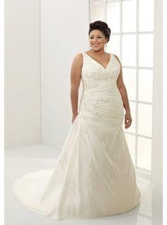 Draped A-line Embroidery V-neck Wedding Dress