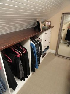 Attic Closet Storage With Shelf. If you are converting your attic into a living space, include some closet space in your design. Create your attic closet following the layout of the attic space. http://hative.com/creative-attic-storage-ideas-and-solutions/
