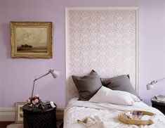Creative DIY Headboard Ideas - Creative DIY Headboard Ideas Easy DIY Homemade Headboard Ideas – How to Make a Bed Headboard Purple Headboard, Wallpaper Headboard, Diy Tufted Headboard, Headboard Designs, Headboard Ideas, Framed Wallpaper, Painted Headboard, Bedroom Paint Design, Bedroom Paint Colors
