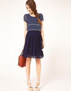 Dahlia | Dahlia Double Layer Spot Dress With Pleated Skirt на ASOS