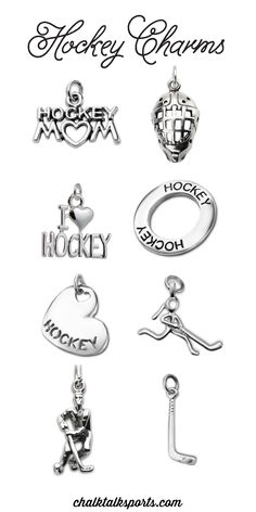 Be charming with our sterling silver and silver plated hockey charms! Add these cute charms to any of our charm necklaces or bracelets to create a custom piece of jewelry that you or someone else will love! Choose any of our hockey stick, ice skate, or goalie mask charms to add some fun or inspire your game with motivational word charms. These make great gifts for hockey moms, hockey girls, hockey grandmas, and hockey sisters! Only from ChalkTalkSPORTS.com!