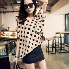 Set: One-Button Dotted Blouse + Camisole YESSTYLE