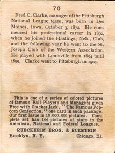 1914 Cracker Jack (E145) #70 Fred Clarke Back