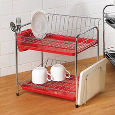 Extra Large Dish Drying Rack Prepossessing Stainless 2 Floor Dish Drying Rack Drainer Dryer Tray Cutting Board Design Inspiration