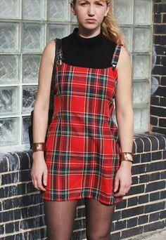 Vintage 90's Tartan Pinafore Mini Dress