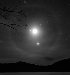 A moon halo surrounding the moon, Jupiter, and Venus on 2/26/12. Photo by John Cordiale