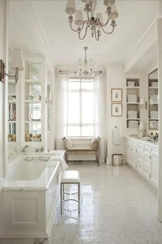 Large Bathroom. White, Shabby Chic, Whitewashed, Cottage, French Country, Rustic, Swedish decor Idea.