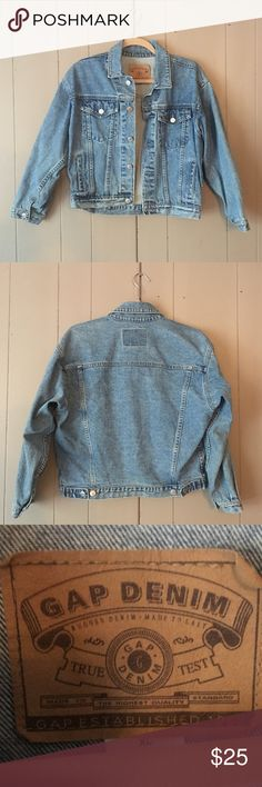 Trendy GAP denim jacket Good used condition! I love this jacket! ❤️ Price for summer sale. Would best fit a medium to large, in my opinion. GAP Jackets & Coats Jean Jackets