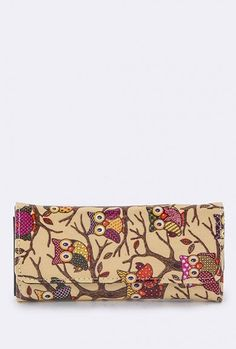 Sincerely Sweet Bags https://sincerelysweetboutique.com/bags.html - Wallet - Bird of Wisdom Owl Print Beige Wallet
