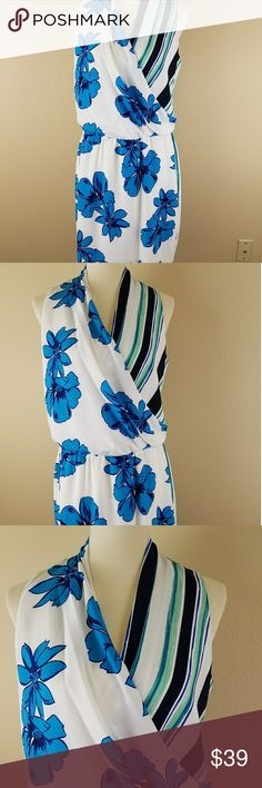 "Halogen dress floral stripes Summer Dress Size M New with tags Halogen dress floral stripes Summer Dress Size M V neck  Fabric: 100% Polyester  Measurements:  Armpit to Armpit: 19""  waist: 16""  Length: 38"" Halogen Dresses Midi"
