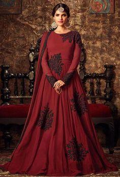 410ee710b1 Maroon Designer Floor Length Anarkali Suit Buy Salwar Kameez Online, Salwar  Suits Online, Lehenga