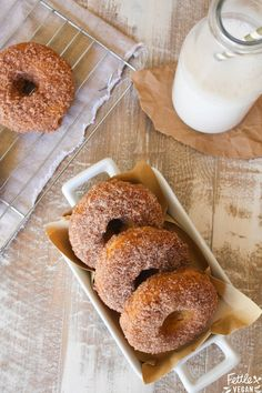 Baked Pumpkin Cinnamon Sugar Donuts! Super easy, ready in 30 minutes or less, and incredibly delicious. What're you waiting for?! #vegan