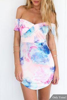 Off Shoulder Mini Dress with Curved Hem