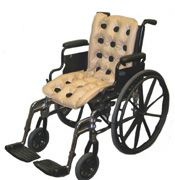 The WAFFLE Multi-Care Pad is a double cushion offering relief to the back and the seat area in a wheelchair. It can also be used laterally to cradle and stabilize the patient. It comes with a WAFFLE L.A.D. Pump to easily inflate the product.