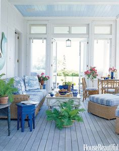 screened in porch ceiling color Morning Glory by BM