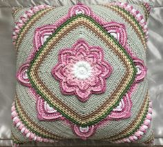 """Are you looking for an interesting pattern for a pillow, chair or you want to add an unprecedented motif to your new blanket? In that case, """"In Bloom CAL"""" is created for your need! Crochet Pillow Cases, Crochet Pillow Pattern, Crochet Cushions, Granny Square Crochet Pattern, Afghan Crochet Patterns, Crochet Squares, Knitting Patterns, Granny Squares, Crochet Afghans"""