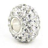 Swaroski White Crystal Ball Bead Sterling Silver Charm Fits Pandora Chamilia Biagi Trollbeads European Bracelet