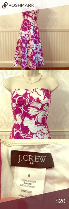 """J. Crew Floral Strapless Sundress J. Crew strapless sundress in perfect condition - only worn once or twice! Vibrant purple and white floral print. Fully lined. Concealed back zipper. 37"""" long. 100% cotton. So stylish and wonderful for summer! Size 6. J. Crew Dresses Strapless"""