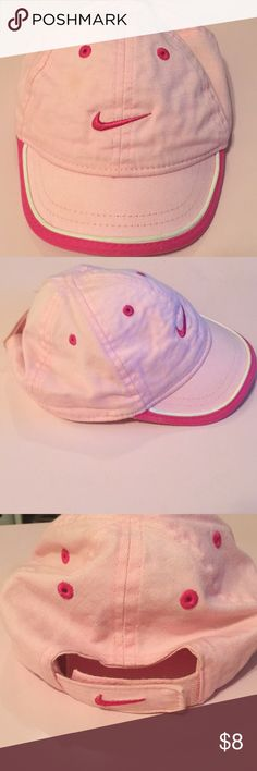 Pink Nike Infant Cap Pink Nike Cap with Adjustable Velcro Strap in the back  Bought for my daughter when she was 3 1/2 years old. She wore a couple of times only. Nike Accessories Hats