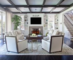 Dark Brown Coffered Ceiling, Transitional, living room, RT Abbott Construction