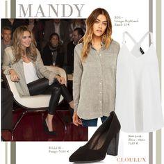 Mandy Capristo trägt einen coolen Alltags-Look mit Boyfriend-Hemd in grau zu einer schwarzen Leder-Leggings und süßen schwarzen Pumps