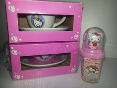 Hello Kitty Sanrio Porcelain Tea Party Cups and Saucers.