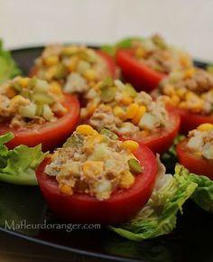 Tomates farcies au thon et cornichons