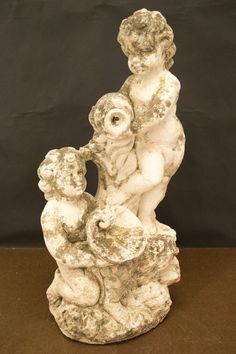 French Garden Cast Stone Cherub Fountain