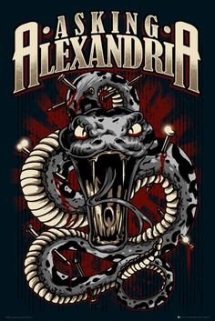 Asking Alexandria Snake - Official Poster. Official Merchandise. Size: 61cm x 91.5cm. FREE SHIPPING