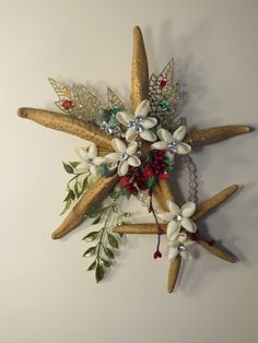 Large Double Starfish Seashell Christmas Wall Decor by SeashellFlorals on Etsy