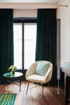 blush pink & forest green velvet curtains- timeless feminine chic [Le Roch Hotel and Spa, Paris SARAH LAVOINE]