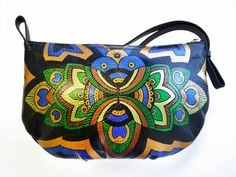 Peacock Leather Purse - Hand painted Purse