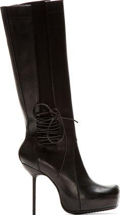 RICK OWENS AW13 black leather boots Size EU 39 US 9 UK 6