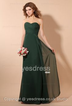 Column/Sheath Chiffon Sweetheart Pleated Long Dark Green Bridesmaid Dress