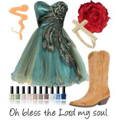 Lindsay - Godspell  Note: Inspired by Lindsay MendezShort prom dress, $170ALDO cowgirl boots, $75Dorothy Perkins yellow gold ring, $8Flower hair accessory, $20