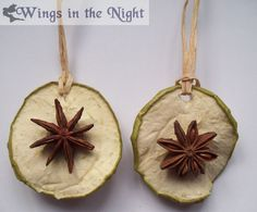 These lovely Yule decorations are handmade by us at Wings in the Night A dried apple or orange slice with a star anise on both sides can be hung on