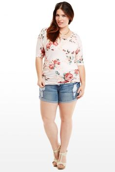 680b6a77e315c4 Floral Jersey Top Trendy Plus Size Clothing