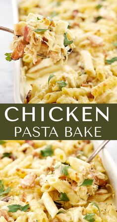 Chicken Bacon Pasta - all the good things in an easy and creamy pasta bake. This recipe uses leftover rotisserie chicken to make a comfort food winner. I like to serve it with a simple salad. bake Easy Creamy Chicken Pasta Bake · Chef Not Required. Creamy Chicken Pasta Bake, Chicken Bacon Pasta, Chicken Pasta Recipes, Healthy Chicken Recipes, Crack Chicken, Cheesy Chicken, Rotini Pasta Recipes, Chicken Pasta Casserole, Chicken Potato Bake