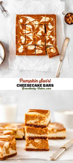 Perfectly fall spiced pumpkin pie is swirled into rich decadent cheesecake baked on a crisp Biscoff cookie crust! These Pumpkin Swirl Cheesecake Bars are the best Autumn dessert ever! #cheesecake #pumpkin #bars #brownies #pumpkincheesecake