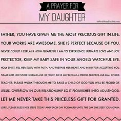 A mother's prayer for her daughter visit for more prayers for your family. i tamara roth pray this in jesus christ name amen ❤ Prayer For My Children, Prayer For Mothers, Prayer For Family, Prayer For You, Prayers For My Daughter, Daughter Quotes, To My Daughter, Daughters, Child Quotes