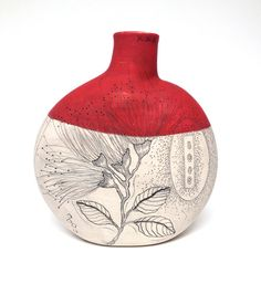 Red and Ivory Handmade Pottery Canteen Vase by DianaFaytCeramics