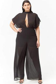 40e3d3c07d9 Forever 21 Plus Size Semi-Sheer Cutout Jumpsuit plussizejumpsuitssummer   plussizejumpsuitsoutfit  plussizejumpsuitsharems