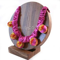 Pink Statement Necklace  Mexican Fabrics by VianneyMendez on Etsy, $43.00