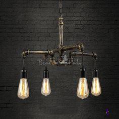 Antique Brass Four Light Pipe Pendant Ceiling Lamp