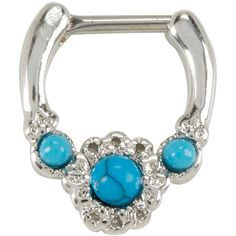 Hot Topic Steel Turquoise 3 Stone Septum Clicker ($10) ❤ liked on Polyvore featuring jewelry, septums, cowgirl jewelry, cowboy jewelry, turquoise jewellery, floral jewelry and steel jewelry