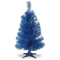 Santa's Little Helper Collection 2' Blue Tinsel Tree with Plastic Stand
