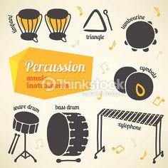 ベクトルアート : Vector collection of percussion music instruments