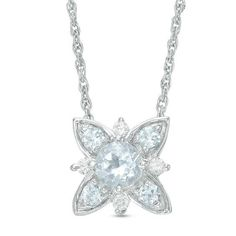 Zales 4.3mm Lab-Created White Sapphire Floral Necklace in Sterling Silver with 14K Rose Gold Plate q9NDmkc5