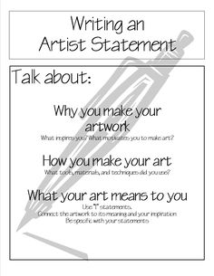 I think this would be a good beginning artist statement to be further developed as students progress as artists. I strongly believe my students' artwork benefits and grows the more they reflect and write! Middle School Art, Art School, High School, School Ideas, Studyblr, Art Critique, Art Rubric, Rubrics, Art Handouts