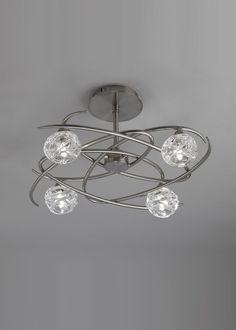 Semi plafón níquel 4 luces MAREMAGNUM - La Casa de la Lámpara